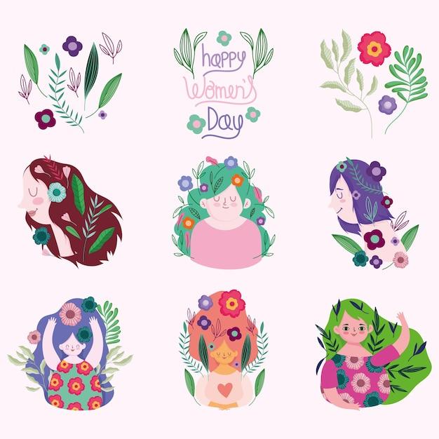 Womens day, set women flowers lettering portrait celebration cartoon  illustration