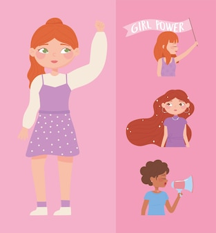 Womens day, strong female group portrait cartoon, girl power  illustration