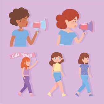 女性の日、強い女の子は自由のイラストのために奮闘します