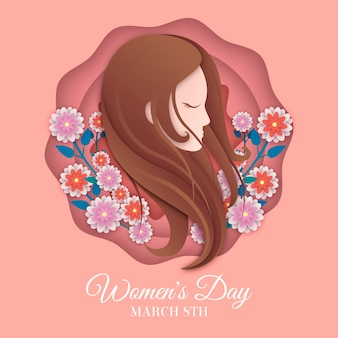 Womens day theme in paper style