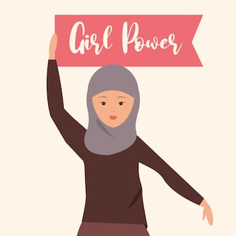 Womens day, woman in islamic clothing holding a girl porwe flag  illustration
