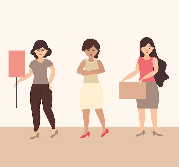 女性の日、一緒に立ってプラカードのイラストを持っている女性の抗議者