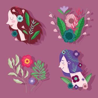 여성의 날, 아름다운 꽃 축하 만화 일러스트와 함께 여성