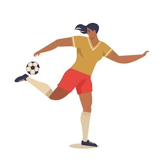 Womens european football, soccer player flat vector illustration.