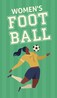 Womens european football soccer player flat vector illustration.