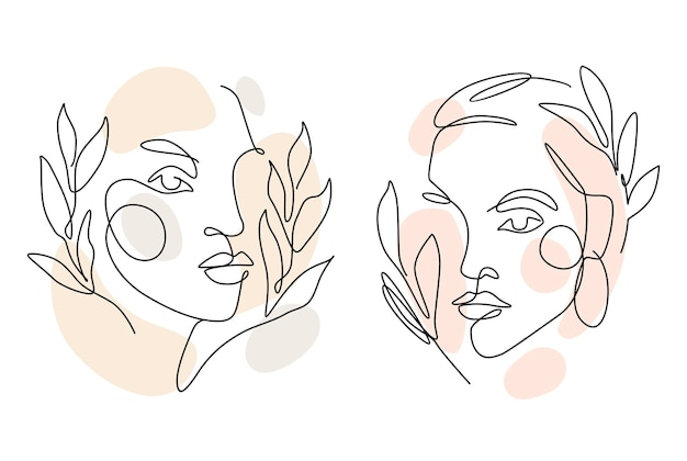 Womens faces one line art with leaves. continuous style