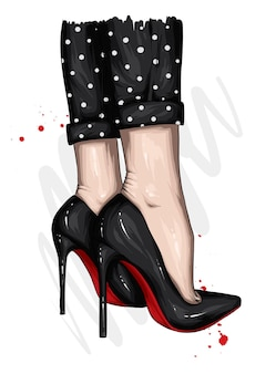 Womens feet in high heels