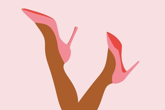 신발을 신은 여성의 발 핑크색 신발을 신은 여성의 다리 판매 할인
