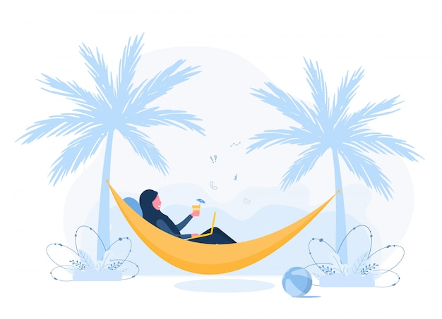 Womens freelance. arabian girl in hijab with laptop lies in hammock under palm trees with cocktail. concept illustration for working outdoors, studying, communication, healthy lifestyle. flat style.