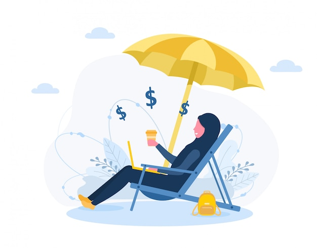 Womens freelance. arabian girl in hijab with laptop sitting in sun lounger under an sunshades with coffee. concept illustration for working outdoors, studying, communication, healthy lifestyle.