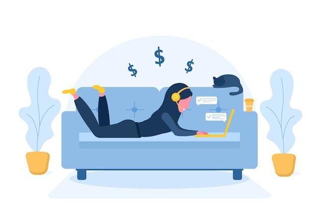 レディースフリーランス。ヒジャーブとラップトップがソファーに横になっているヘッドフォンでアラビアの女の子。在宅勤務、教育、健康的なライフスタイルの概念図。フラットスタイルのイラスト。