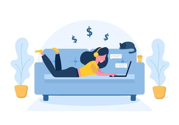 レディースフリーランス。ソファーに横になっているヘッドフォンでラップトップを持つ少女。仕事、勉強、教育、自宅で仕事、健康的なライフスタイルのための概念図。フラットスタイルのイラスト。