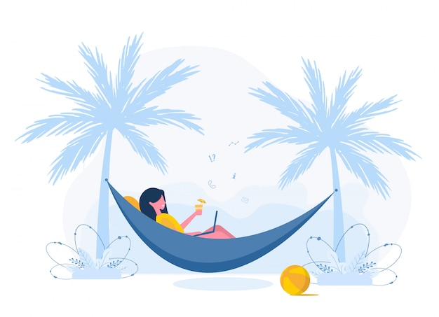 Womens freelance. girl with laptop lies in hammock under palm trees with cocktail. concept illustration for working outdoors, studying, communication, healthy lifestyle. flat style.