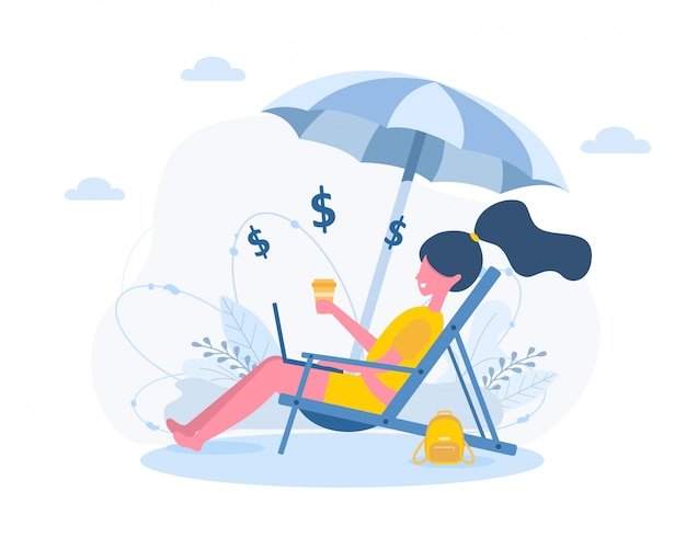 Womens freelance. girl with laptop sitting in sun lounger under an sunshades with coffee. concept illustration for studying, education, working outdoors, healthy lifestyle.  in flat style.