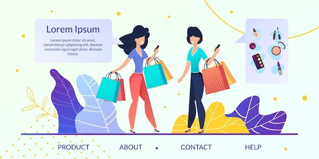 Womens goods online store flat vector website