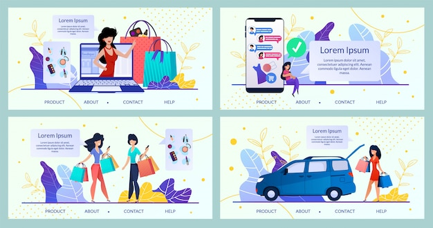 Womens goods online store, shop  website Premium Vector