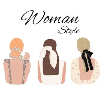 アクセサリー付きのレディースヘアスタイル。後ろから見てください。別の服を着た女性。