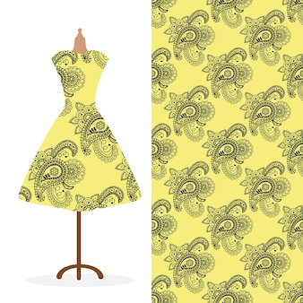 Womens long dress mock up with bright seamless hand drawn pattern for textile paper print