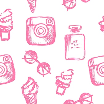 여자 패턴 선글라스 향수 아이스크림 소셜 미디어 아이콘