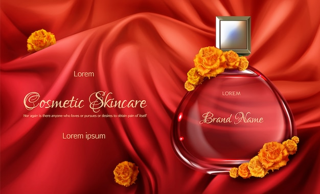 Womens perfume 3d realistic vector advertising banner or cosmetic promo poster.