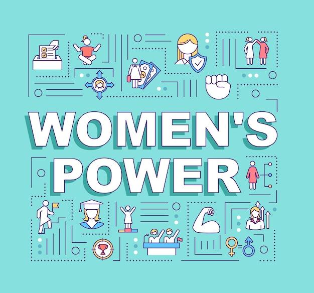 レディースパワーワードコンセプトバナー。女性の肯定。モチベーション、エンパワーメント。ターコイズブルーの背景に線形アイコンとインフォグラフィック。孤立したタイポグラフィ。ベクトルアウトラインrgbカラーイラスト