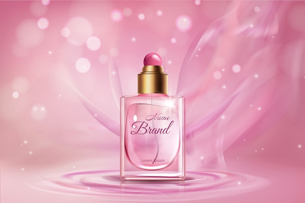Womens realistic perfume advertising banner   template