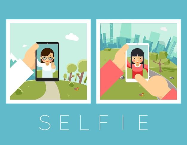 レディースセルフィー。屋外と山の写真。ポートレートとスマートフォン、カメラと顔