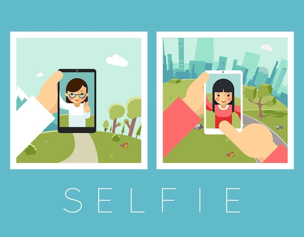 Womens selfie. outdoor and mountains photos. portrait and smartphone, camera and face