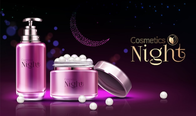 Womens skincare night cosmetics line products realistic  ad banner, poster.