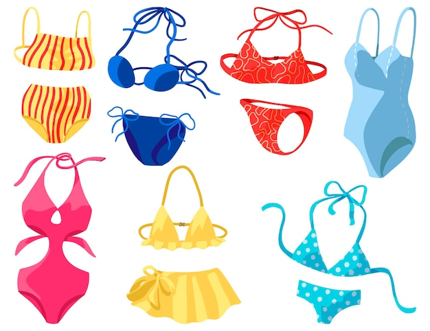 Womens swimsuits, bikini, one-piece swimwear. collection of hand drawn vector illustrations. colorful cartoon cliparts isolated on white. elements for design.