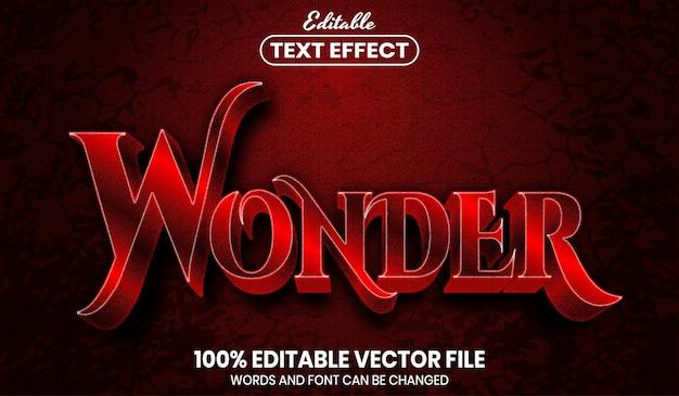 Wonder text, font style editable text effect Premium Vector