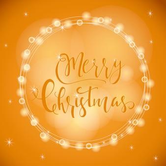 크리스마스 인사말 카드에 대한 소원과 함께 훌륭하고 독특한 축제 황금빛 빛나는 배경. 흐릿한 보케가 있는 손으로 그린 글자. 새 해 디자인 요소입니다.