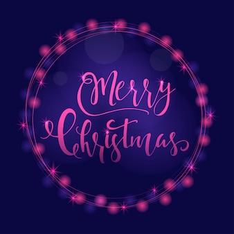 크리스마스 인사말 카드에 대한 크리스마스 소원과 함께 훌륭하고 독특한 축제 보라색 빛나는 배경. 흐릿한 보케가 있는 손으로 그린 글자. 새 해 디자인 요소입니다.