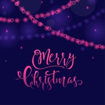 휴일 인사말 카드에 대한 크리스마스 소원과 함께 훌륭하고 독특한 축제 보라색 빛나는 배경. 흐릿한 보케가 있는 손으로 그린 글자. 새 해 디자인 요소입니다.