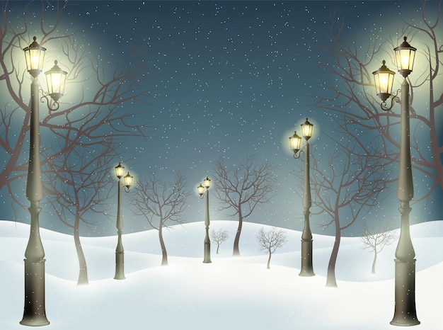 A wonderful background of lampposts, trees and snow. vector illustration