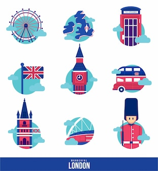 Wonderful london landmark icon set