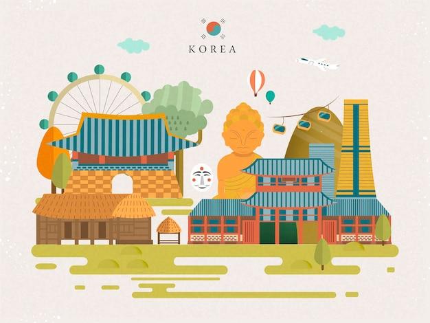 평면 스타일의 멋진 한국 여행 포스터