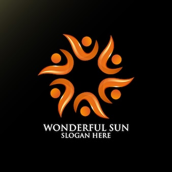 Wonderful sun logo design for template