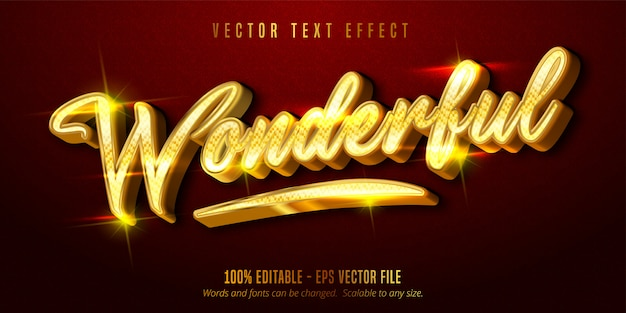 Wonderful text, shiny golden style editable text effect