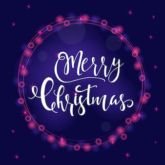Wonderful and unique festive purple luminous background with christmas wishes for holiday greeting cards. hand drawn lettering with blurred bokeh. new year design elements.