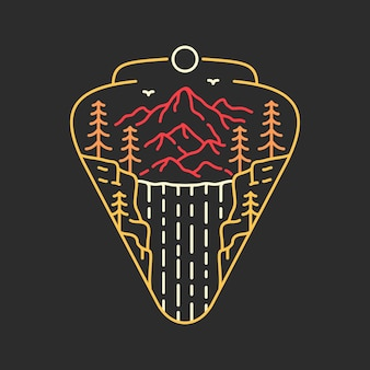 Замечательный значок водопада монолайн