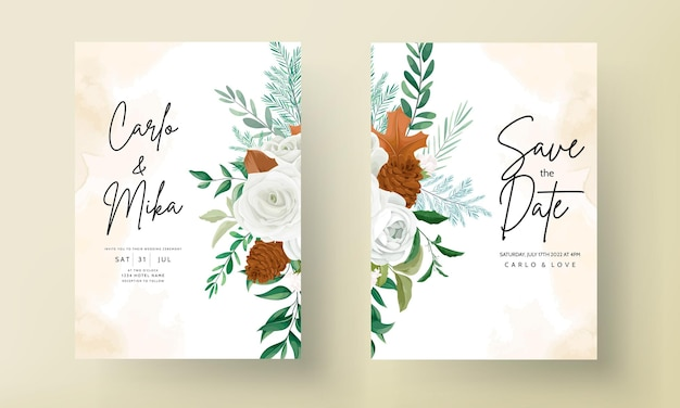 緑の葉白いバラと松の花がセットされた素晴らしい結婚式の招待状