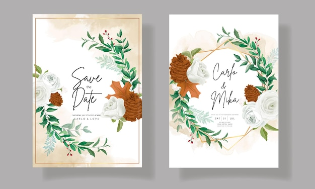 Wonderful wedding invitation card set with greenery leaves white rose and pine flower