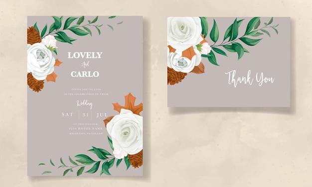 Meraviglioso set di biglietti d'invito per matrimonio con foglie verdi, rosa bianca e fiori di pino
