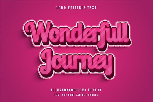 Wonderfull 여행, 3d 편집 가능한 텍스트 효과 현대 핑크 그라데이션 귀여운 텍스트 스타일