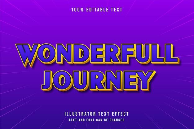 Wonderfull 여행, 3d 편집 가능한 텍스트 효과 보라색 그라데이션 블루 오렌지 현대 만화 스타일