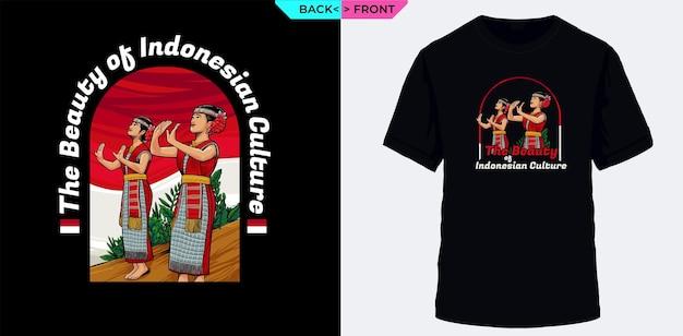 Прекрасная индонезия с традиционными танцовщицами, подходящими для трафаретной печати на футболках.