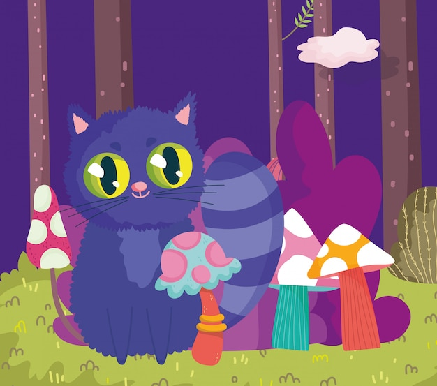 Wonderland, cat mushrooms foliage vegetation grass