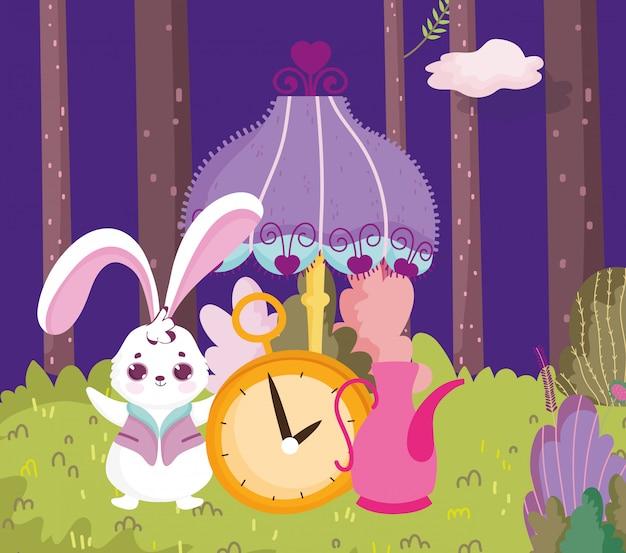 Wonderland, rabbit clock lamp teapot forest cartoon