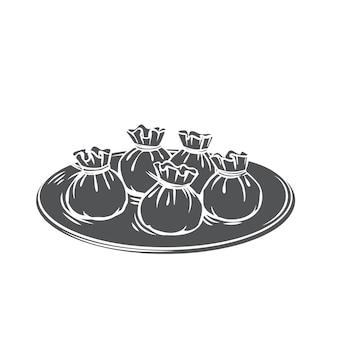 완탕 중국 요리 글리프 흑백 아이콘